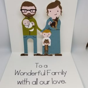 Pop-up greeting card for a family.