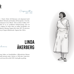 "Layout spread with illustration from the book ""Njurunda Kvinnokarta""."
