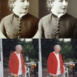 "Photo restoration and photo manipulation for the book ""Njurunda Kvinnokarta""."